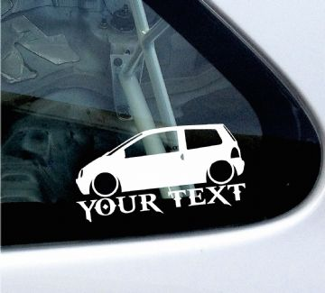 2x Custom YOUR TEXT Lowered car stickers - Renault Twingo mk1